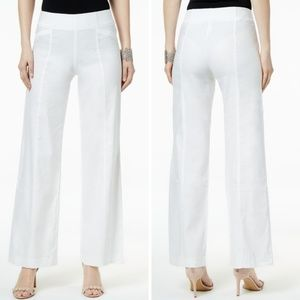 Linen Blend High Rise Wide Leg Casual Pants